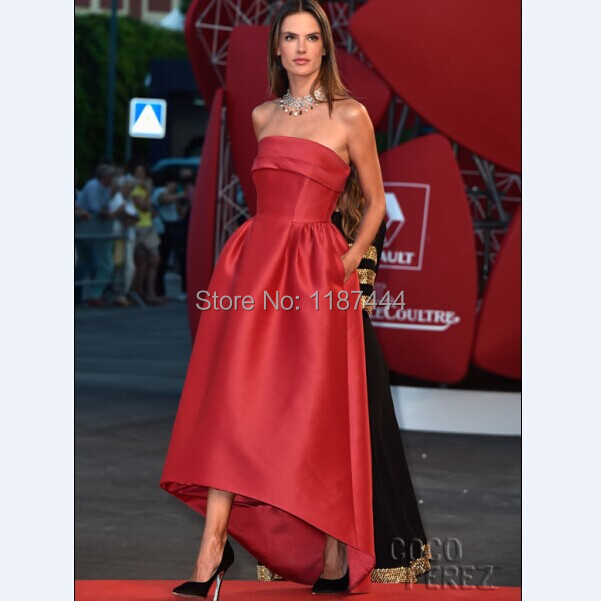 Alessandra Ambrosio strapless red prom gown 2014 Venice Film ...