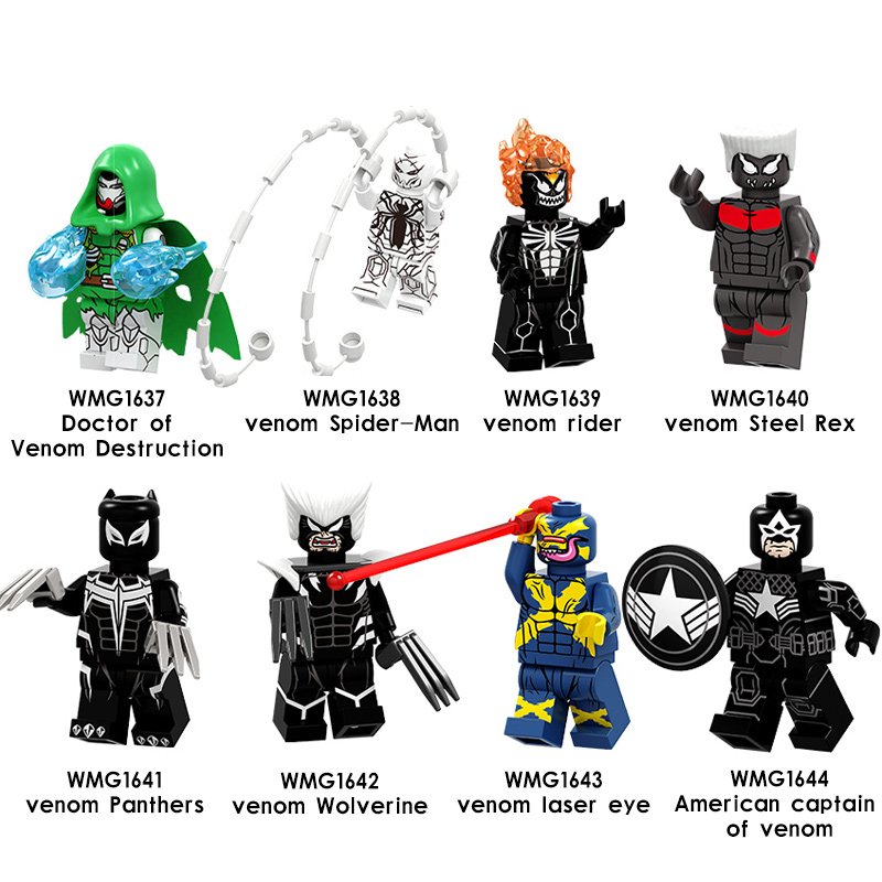20pcs/lot Building Blocks Super Heroes Venom Panther Spiderman Steel Lux Captain American Figures Toys For Children Cheap Sales 50% Blocks