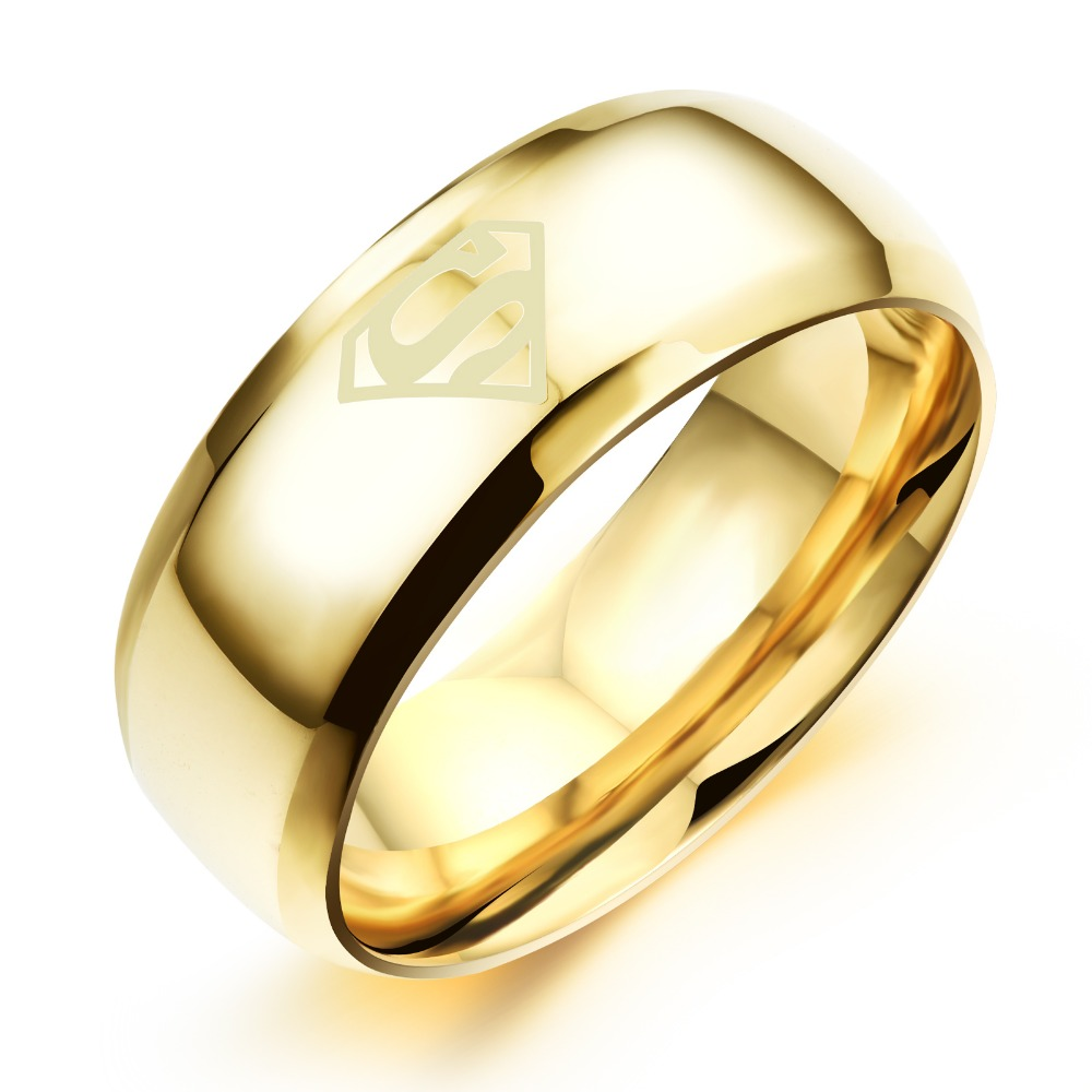 TrustyLan Black Gold Color Ring Man Luxury Stainless Steel Wedding ...
