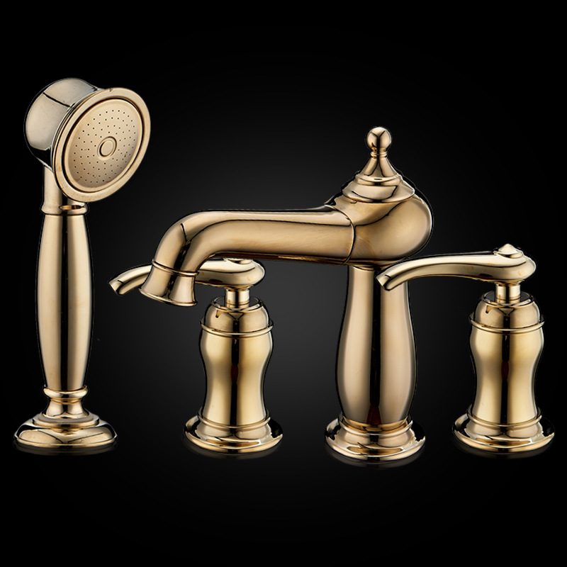 Deck Mounted Bathroom Basin Faucet Widespread 8 Waterfall Double handles Four Holes European Style Sink faucet with Shower Set