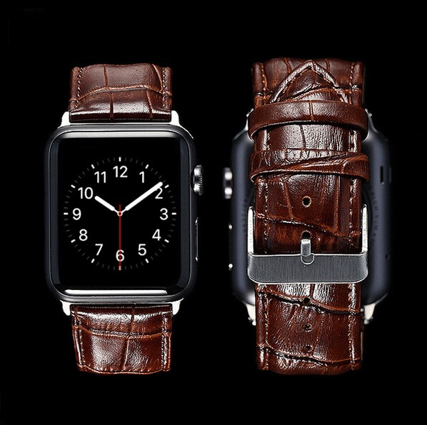 GOOSUU Black  Genuine Leather Buckle Wrist Strap Band Belt for iWatch Apple Watch 38mm 42mm Watchband For iwatch with Connector genuine leather watchband for longines men leather watch strap for women metal buckle watch band belt retro watch clock band