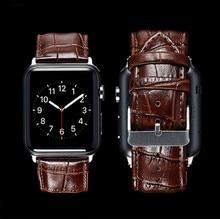 GOOSUU Noir Véritable En Cuir Boucle Dragonne Bande Ceinture pour Apple iWatch Montre 38mm 42mm Bracelet Pour iwatch avec Connecteur