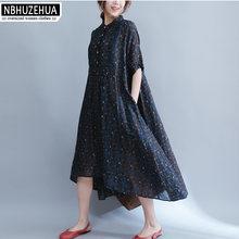 6f88311da7b 4XL 5XL 6XL Plus Size Women Clothing Sundress Retro Irregular Long Linen  Dress Beach Vintage Dress Shirt Dresses Robe longue