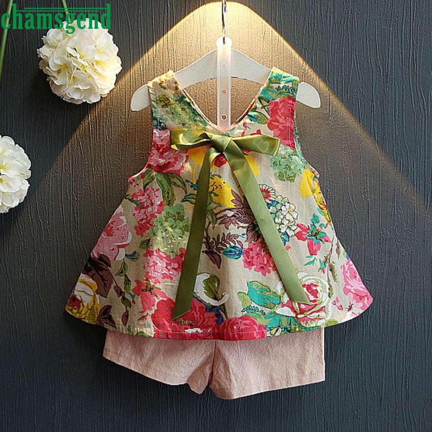 2018 cute 2PCS Toddler Kids Baby Girls bow with a blazer Outfit Clothes Floral Vest T-shirt+Shorts Pants Set P30 baby clothes 2pcs set toddler kids girls clothes wild heart long sleeve t shirt tops pant outfit cute girl children suit 1 6y