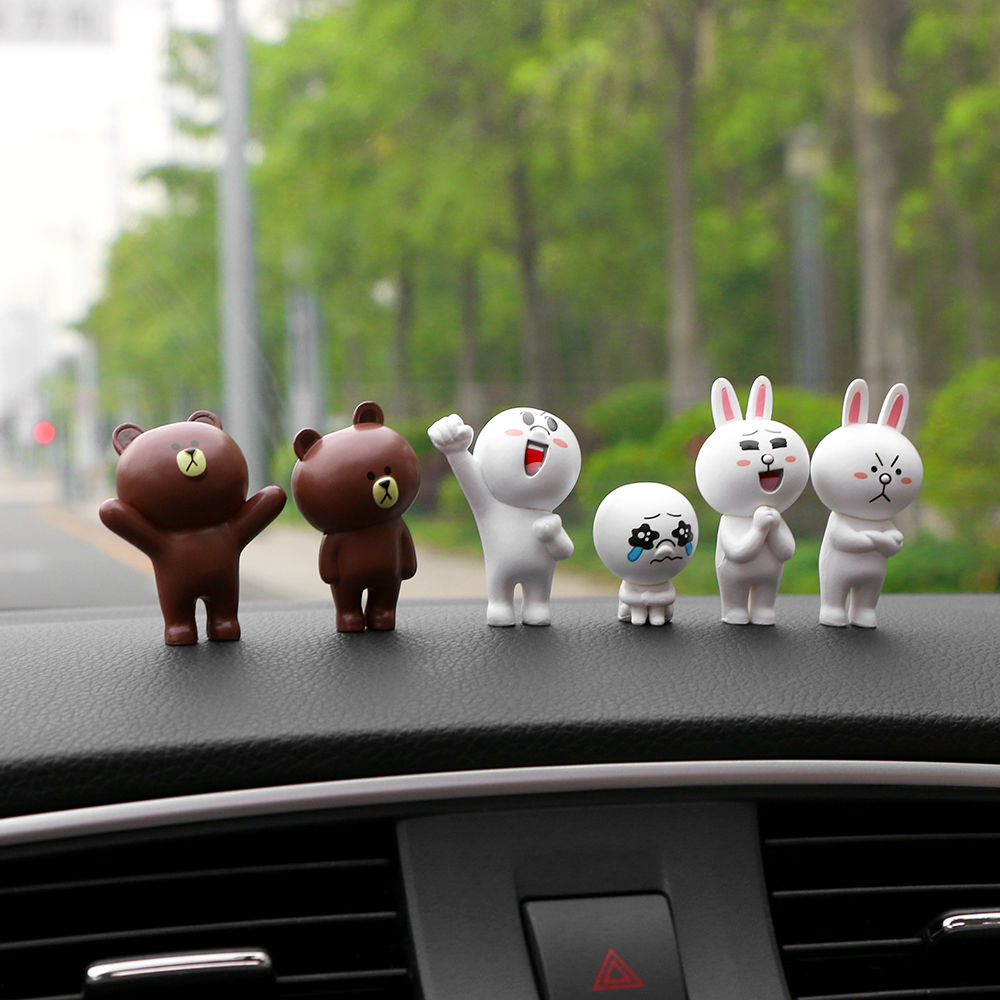 6pcs/set car accessories lovely dashboard toys mini rabbits and bears figurines funny dolls cartoon animal car interior decoration ornaments