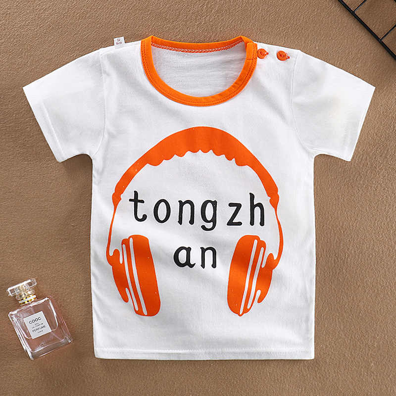 1-8Y Baby Boys Headset Bear Pineapple Printed T-shirt Toddler Kids Short-Sleeve t shirt Children Boys Girls Tops Shirt 2019 New