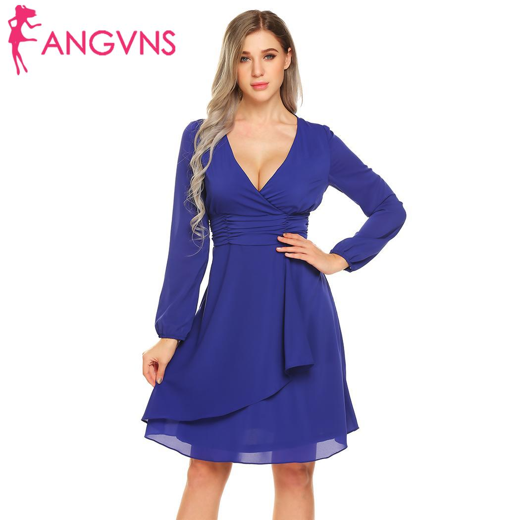 04859e2a7b15 None Party V-Neck Long Sleeve Ruched Waist Cascading Ruffles Elegant A-Line  Dress