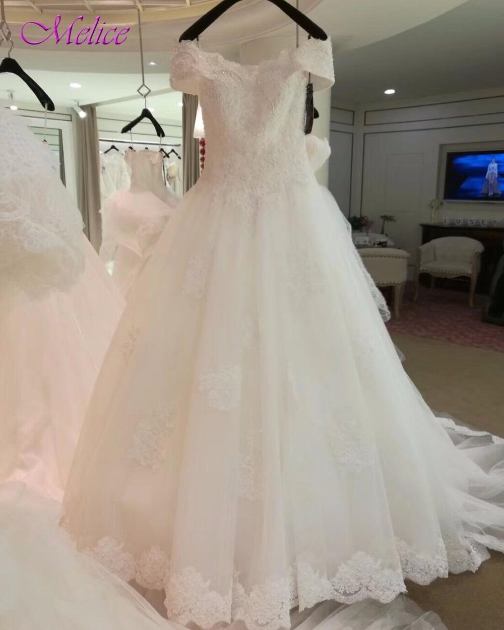 Melice New Gorgeous Appliques Pearls A-Line Wedding Dress 2018 Boat Neck Beaded Lace Up Wedding Gown Vestido de Noiva Plus Size