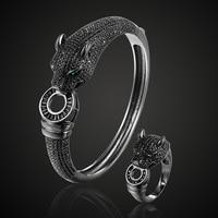 New Arrival Jet Cubic Zircon Leopard Animal Bridal Bangle Jewelry Brand Europe Design Copper Bracelet Mujer Men's Bracelet