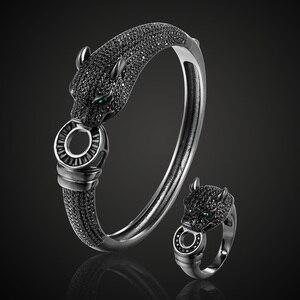 Image 1 - Zlxgirl jewelry Jet Cubic Zircon Leopard Animal Bridal Bangle Jewelry Europe Design Copper Bracelet Womens Bracelet free 1 mask