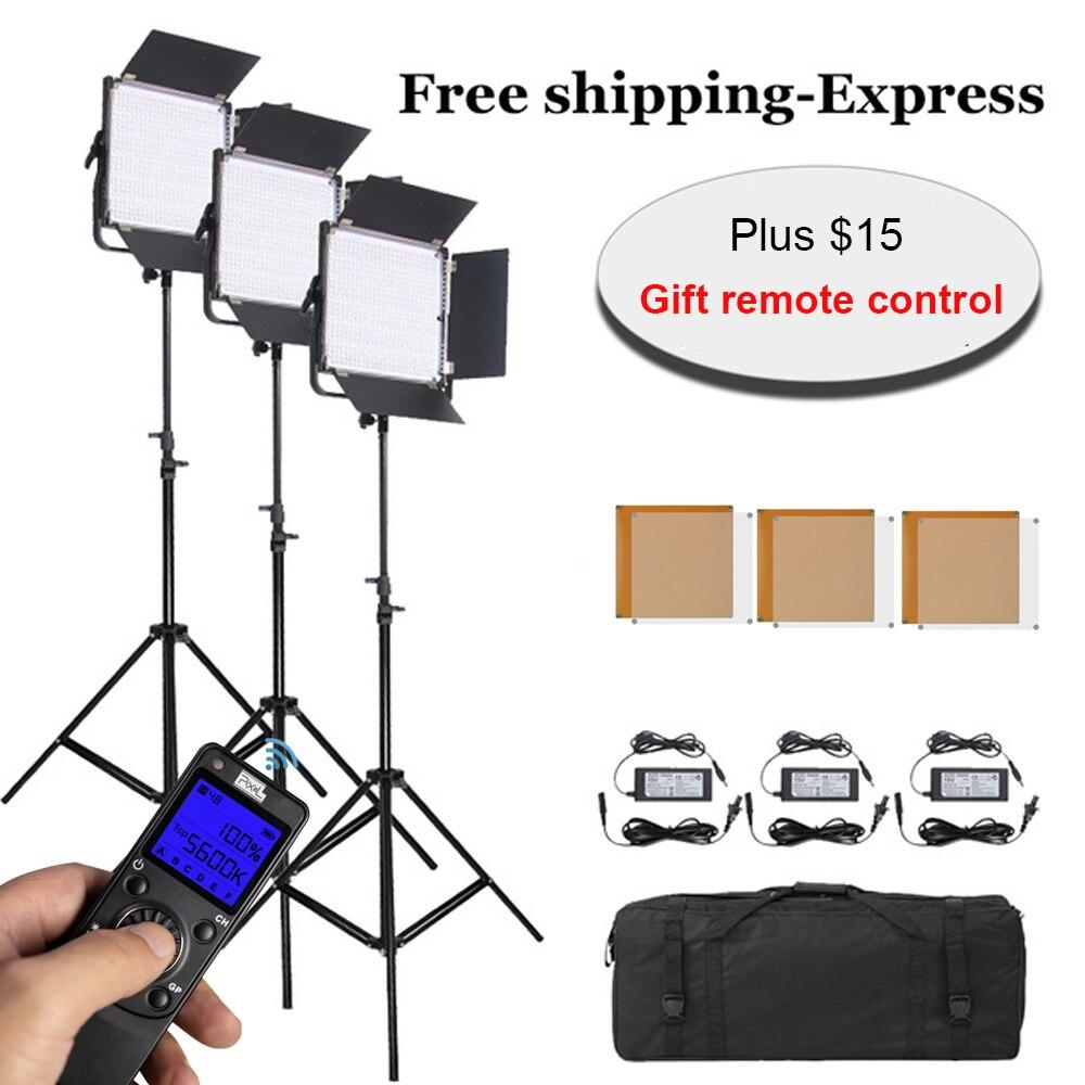 Ensemble professionnel de lumière vidéo 3 * Pixel K80 LED avec panneau de Transmission sans fil 2.4G intégré avec support de support de lumière pour Studio