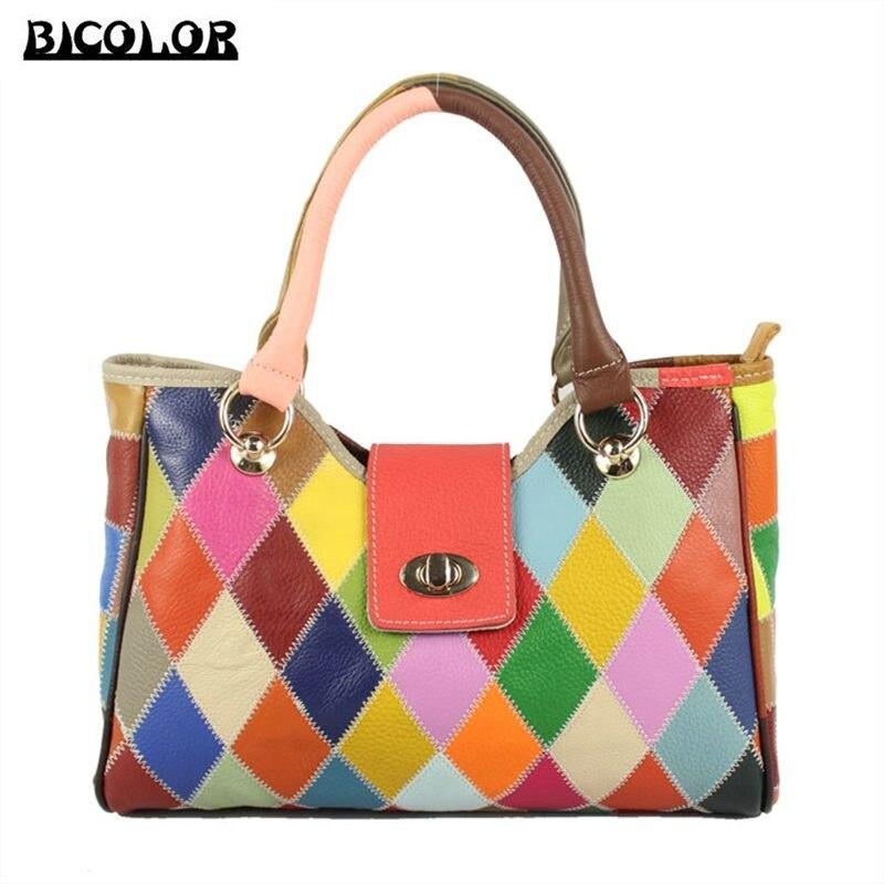 ФОТО BICOLOR Woman Bags 2016 Bag Handbag Fashion Handbags Women Shoulder Bags Ladies Genuine Leather Bag Famous Brand Vogue Tote New