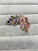 natural multicolor tourmaline gem pendant S925 silver Natural gemstone Necklace trendy Luxury Lucky leaves women fine jewelry