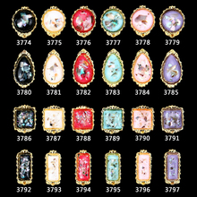 NEW Hot nail jewelry gold metal nails art decor 100 pcs shell design gems center 3d decorations accessories supplies