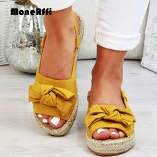 MoneRffi Women Sandals Flats Sandals Female Summer Shoes Ladies Peep Bow Casual Shoes Sandalias Mujer 2019 Solid Casual Sandals