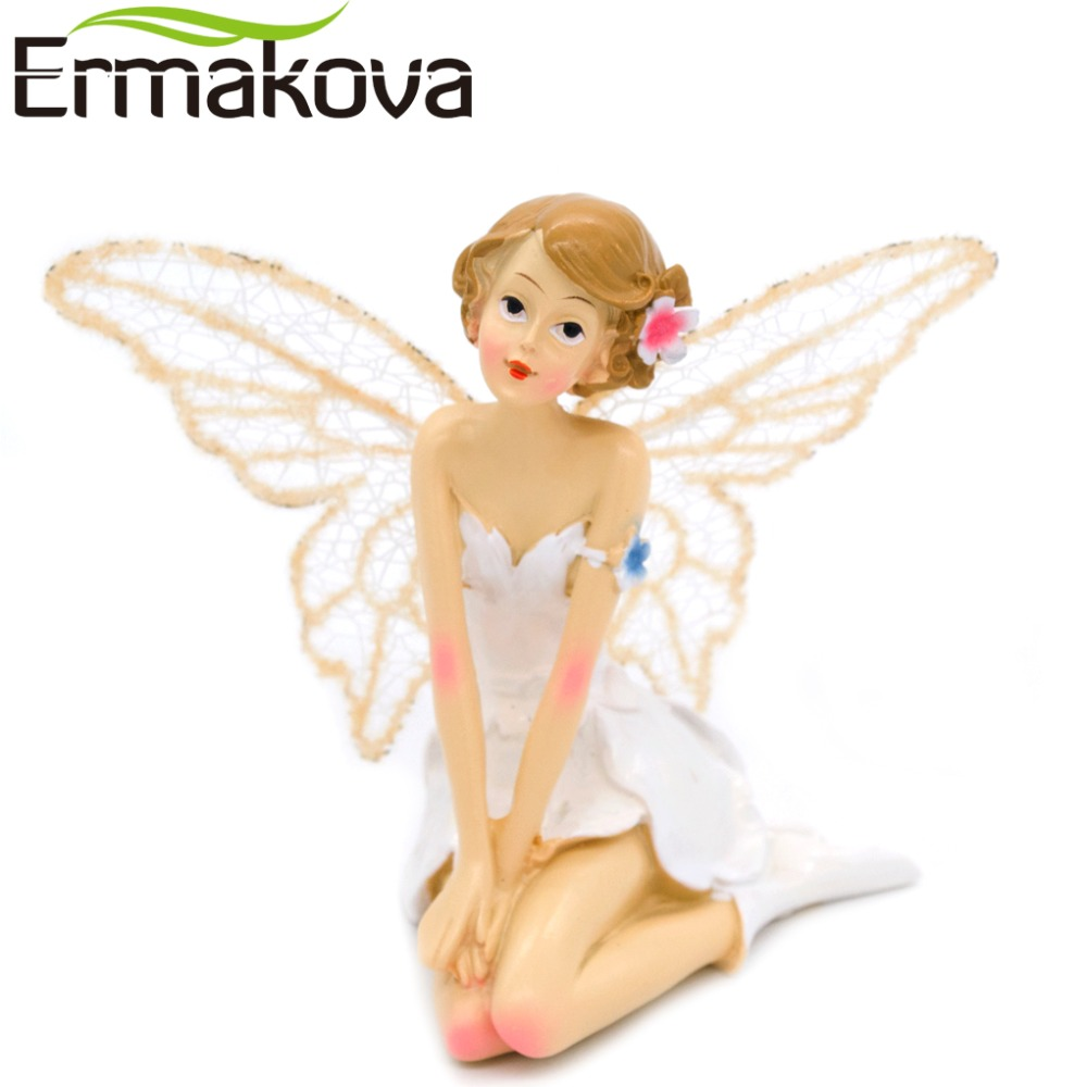 ERMAKOVA Resin Angel Ornaments Flower Fairy Figurine Angel Figurine Girl Miniature Fairy Garden Landscape Gift Home Decoration