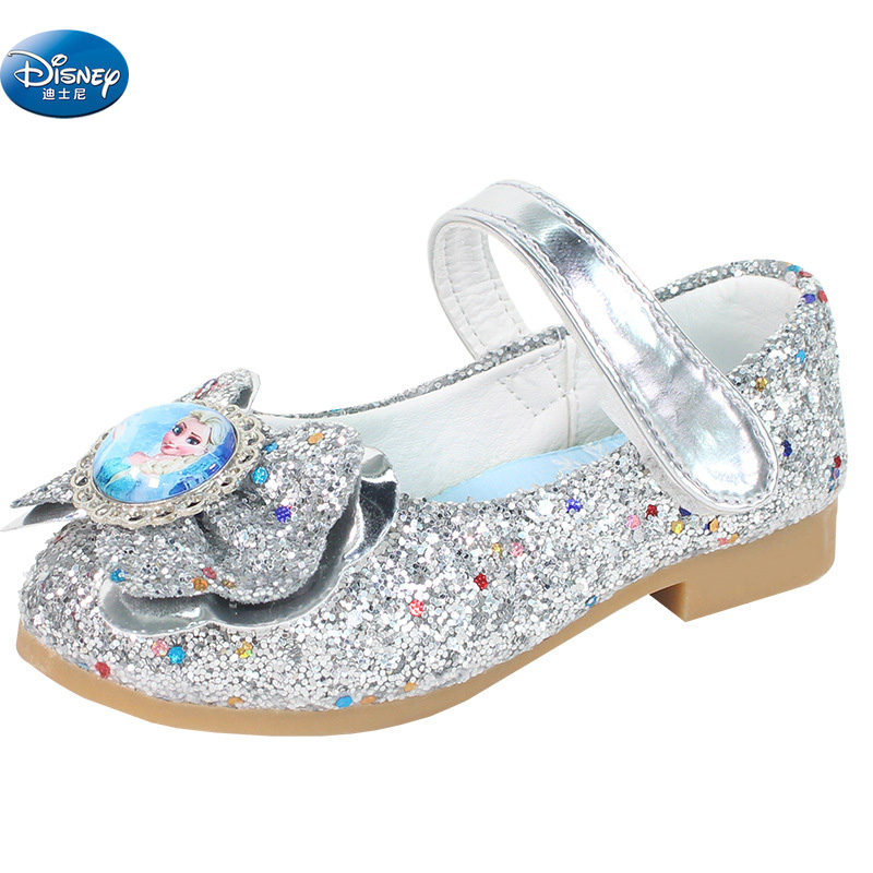 Frozen Elsa And Anna Snow Queen Single Shoes Girls Spring Autumn  Princess Sparkling Cartoon Casual Europe Size 26-35