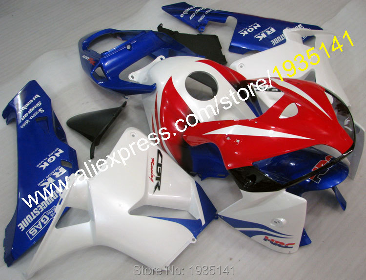 Hot Sales,For Honda CBR600RR F5 2005 2006 Parts CBR 600 RR F5 05 06 Blue Red White Motorcycle Fairing Set (Injection molding) freeshipping motorcycle parts rear fender guard fairing abs for honda cbr 600rr f5 2003 2004 2005 2006 04 05 06 black