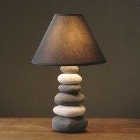 Creative Ceramics Stone Table Lamps Retro Bedroom Bedside Study Cafe Decorative Lighting table lights ZA
