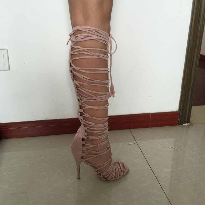 Pink Gladiator Style Open Toe Cross Tie Women Sandals Extra High Heel Shoes Ladies Shoes Sandals Real Images Shoes Ladies
