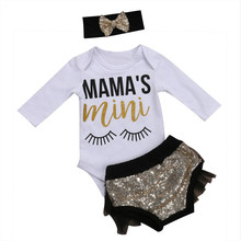 Cute Newborn Baby Girl Cloting Mama's Mini Long Sleeve Cotton Romper Bodysuit Tops+Sequins Lace Shorts Headband 3PCS Clothes(China)