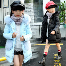 Girls Winter Jackets 2017 new winter Fashion Jacket Girl Hooded Thick Long Cotton-Padded Winter Outerwear & Coats For 4-12year