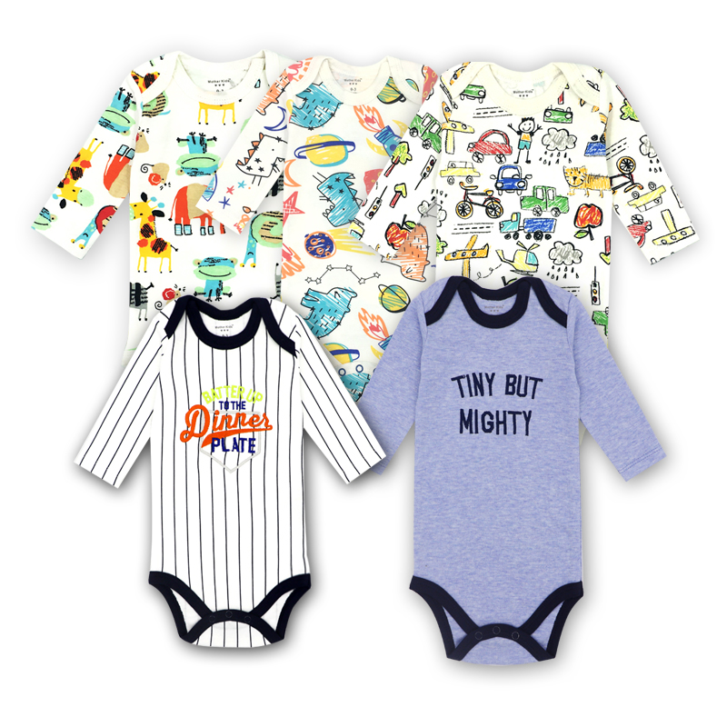 5pieces/lot Spring-Autumn Long Sleeve Baby boy Clothes 100% Cotton Newborn Rompers Kids Jumpsuit variety girls Clothes Outfits