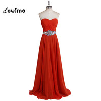 Red Chiffon Maxi Bridesmaid Dresses Long Cheap Sweetheart A Line Beaded Waist Custom Made Wedding Guest