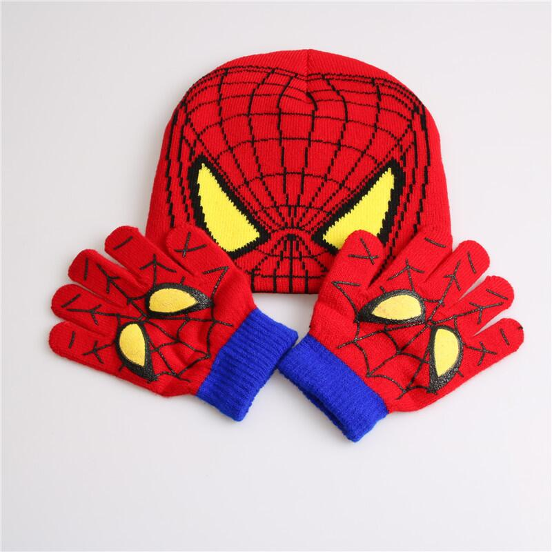[aide chebi] Autumn Winter Children Girls Hat Spider Man Cartoon Set Knitted Warm Cap Hat Gloves Children Sets Hat Bonnet Cap zea rtm0911 1 children s panda style super soft autumn winter wear cap scarf set blue