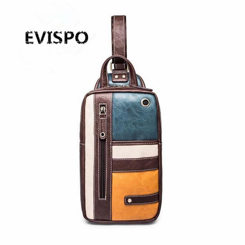 EVISPO Men Bag Single Shoulder Back Strap PU Leather Chest Bag Brown Vintage Style Messenger Crossbody Bag Men Ches