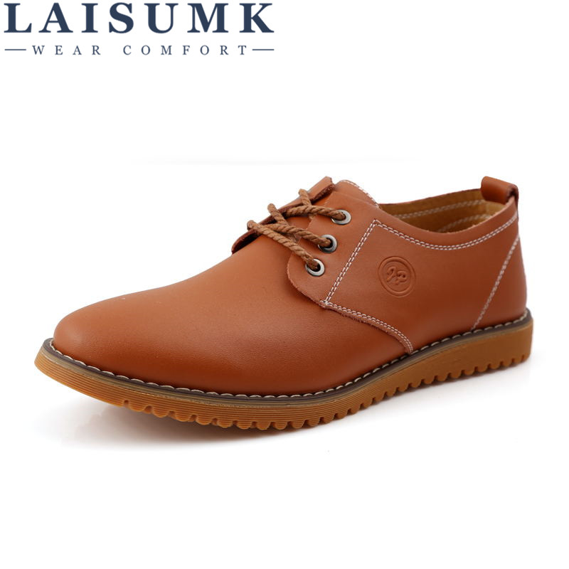 2017 LAISUMK Men's Cow Leather Design Shoes Lace Up Brown Flats Breathable Mesh Lining Man Shoes Size 38-47
