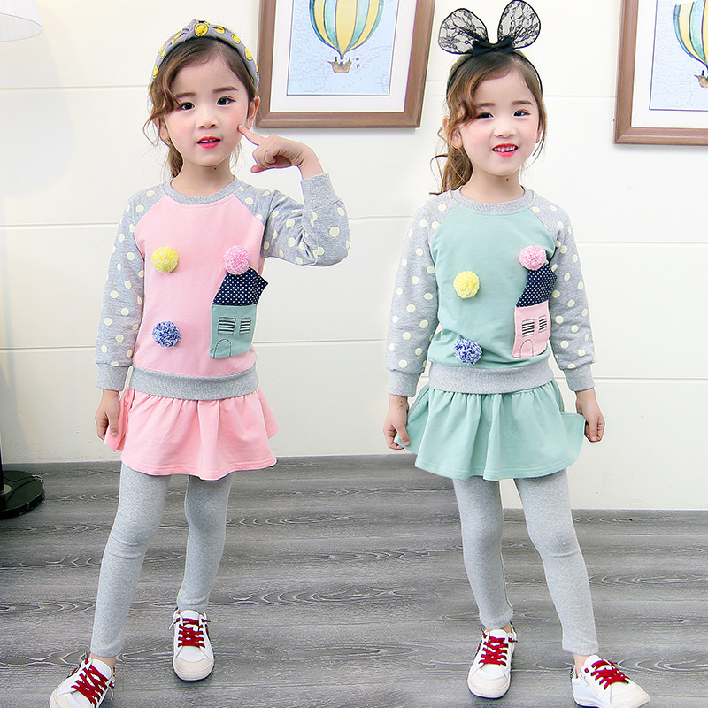 Girls Clothing Set Carton Spring Autumn Kids Clothes Sets 2 Pcs Patchwork Dot Sleeve Tops + Skirts Pant Suit Clothing Sets