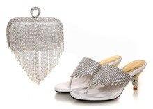 2015 heißesten Verkauf Mode silber Damen Sommer sandalen Afrikanische partei Schuhe Mit Passender Tasche! größe 37-43! RL1-8