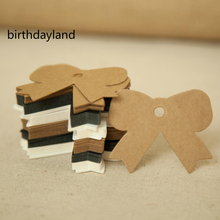 5cm*6cm wholesale homemade bow design Kraft paper tags bookmark mood message card DIY scrapbooking accessories 100pcs