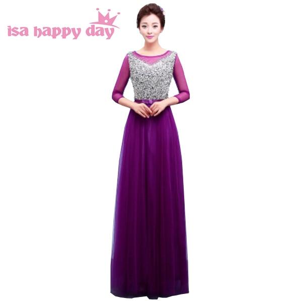 bridesmaid occasional dresses dark purple vintage with sleeves dress ...