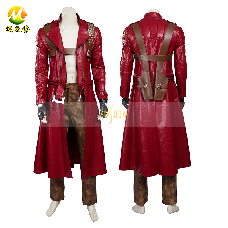 Top Quality Devil May Cry 3 Dante Cosplay Costume Red Trench Windbreaker + Belt Dante Costume For Halloween Adult Men Dress