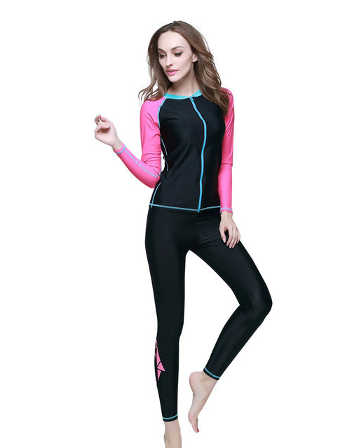 399df5743911c Long Sleeve Women Rash Guard and Leggings Running Swim Snorkeling Workout  UV 50 Skin 2017 Sun Protection Shirt Pants Tights