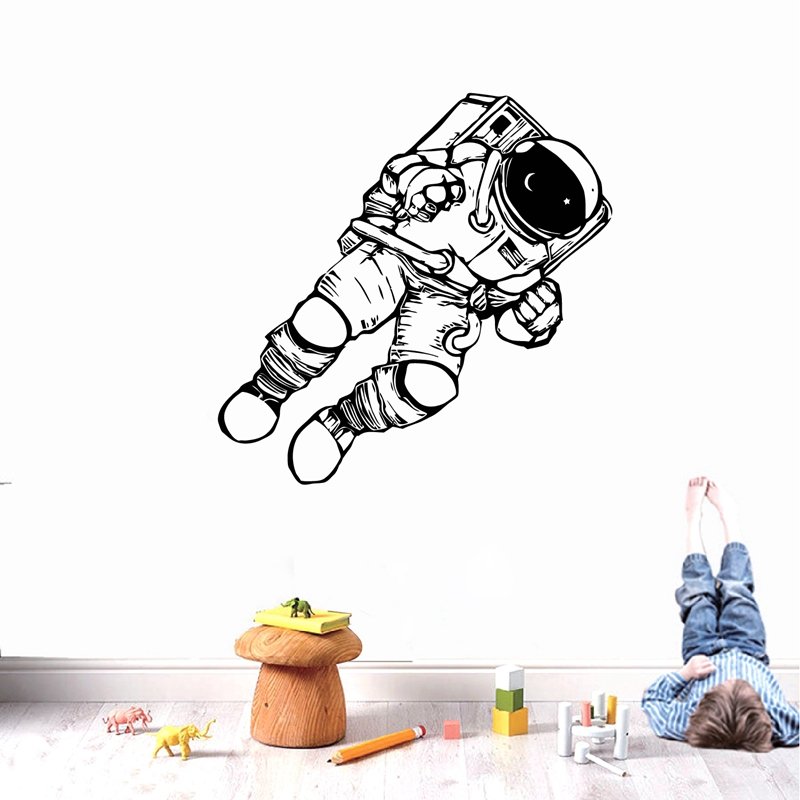 New arrival Outer Space Cosmonaut Astronaut Wall Art Decals Spaceman Vinyl Sticker Home Kids Boys Room Nursery Mural