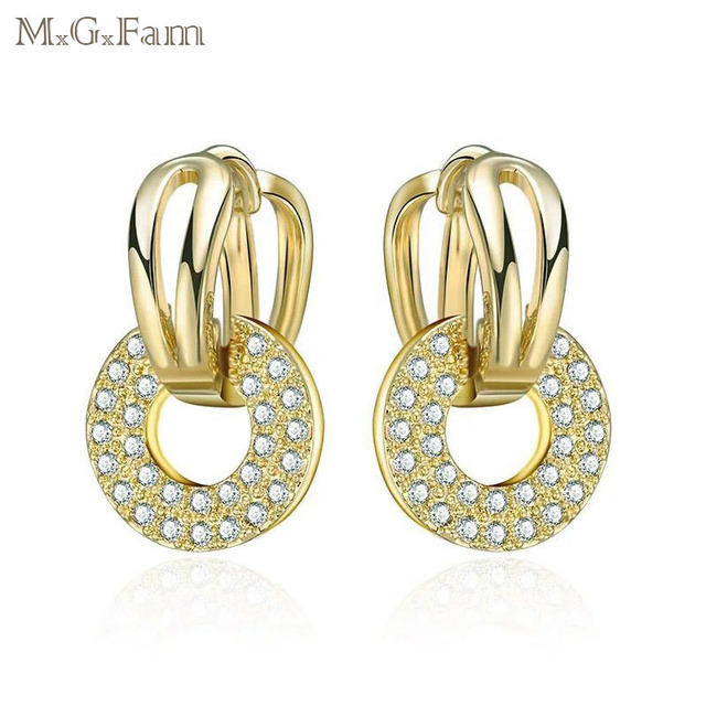 9ae309483 MGFam 14 k Light Gold Color Drop Earrings for Women AAA+ Cubic Zircon Round  Charms New Design