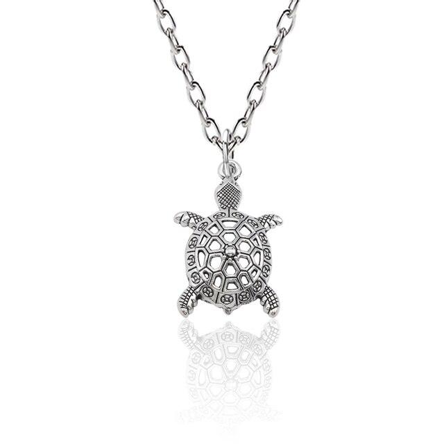 033c2f1871 Vintage Animal Jewelry Silver Alloy Hollow Sea Turtle Charm Pendant  Necklace Tortoise Cuckold Necklaces Pendants Bijoux
