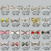 Factory Wholesales 100pcs Beautiful Gold Bow Tie Studs 3d Charm Metal Decorations Jewelry Nail Art Rhinestones Nail Accessory
