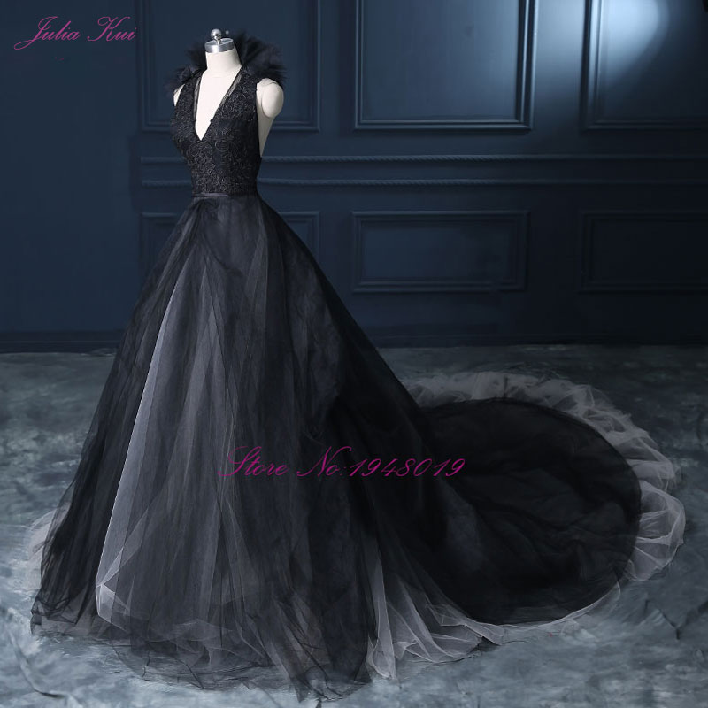 Image 3 - Julia Kui Halter A Line Black Wedding Dress 2019 Wedding Gown Count Train  Princess Vintage Bridal Dress-in Wedding Dresses from Weddings & Events