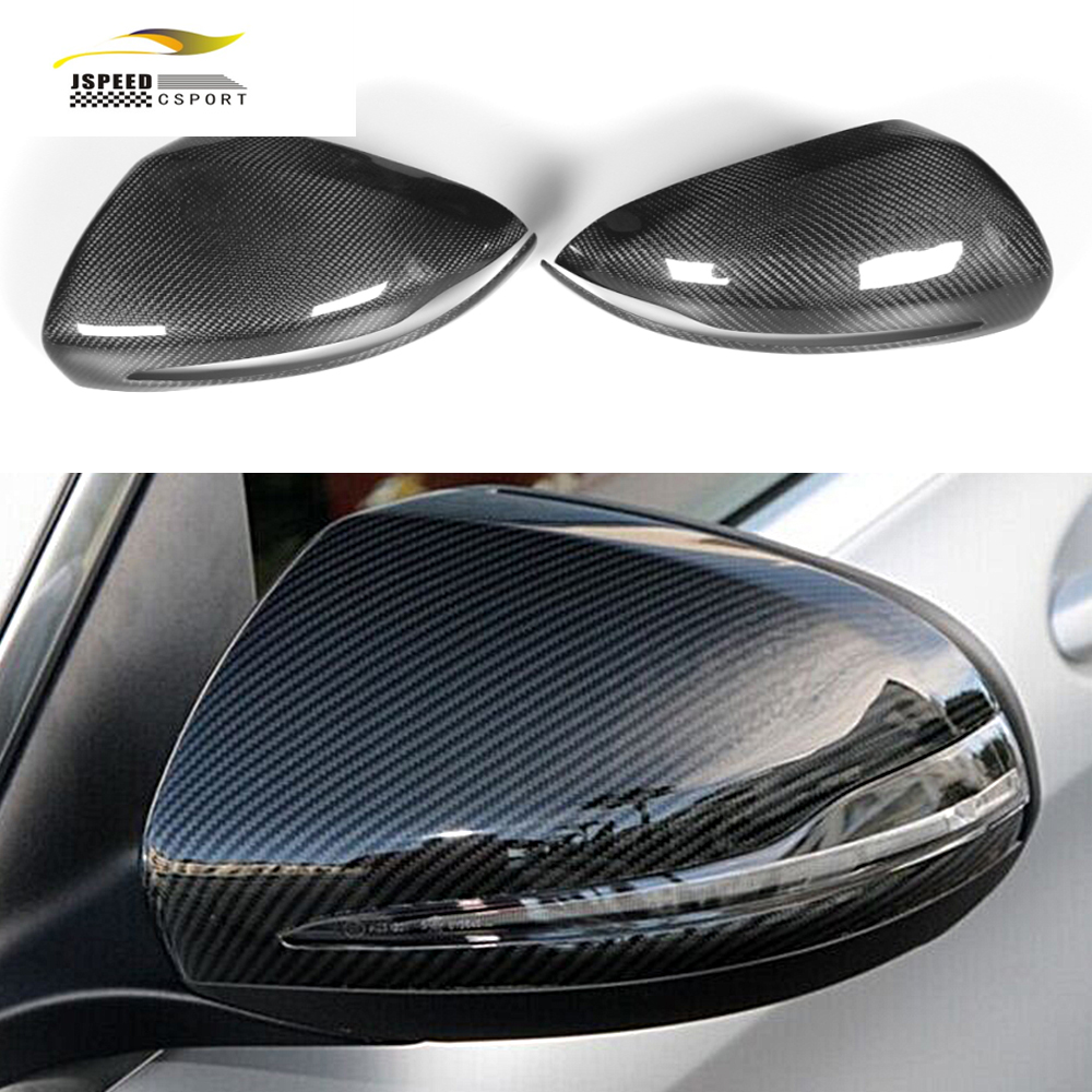 ФОТО W205 Car Styling Carbon Fiber Rear Review Mirror Mask Cover Caps For Benz C/E Class W205 & W222 LHD 2014