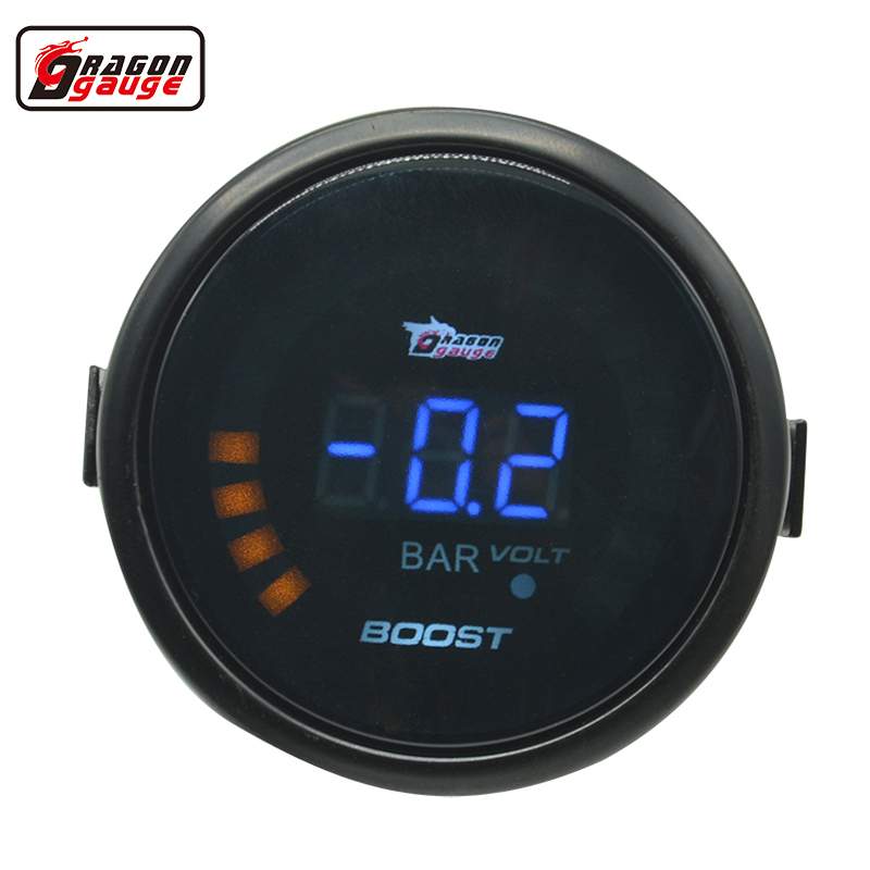 Dragon Jauge 52mm Noir shell Auto Voiture Turbine Turbo Boost gauge Numérique-1 ~ 3.0 Bar et Tension indicateur jauge