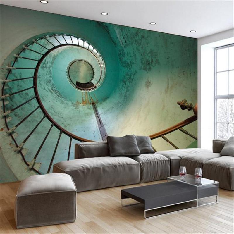 Stereo Photo Wallpaper Wall Murals Desktops Europe Retro Metal Staircase Bedroom For Ktv Bar