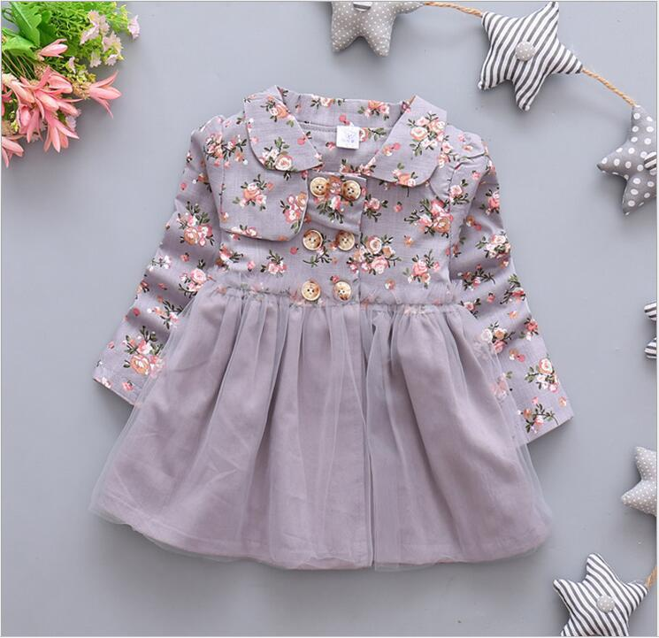 ᗗEn el otoño de la nueva moda femenina bebé flor patrón Vestido de ...