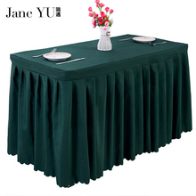 JaneYU 19 Colorspolyester material table swag pleated style wedding hotel decoration tablecloth hang up sale