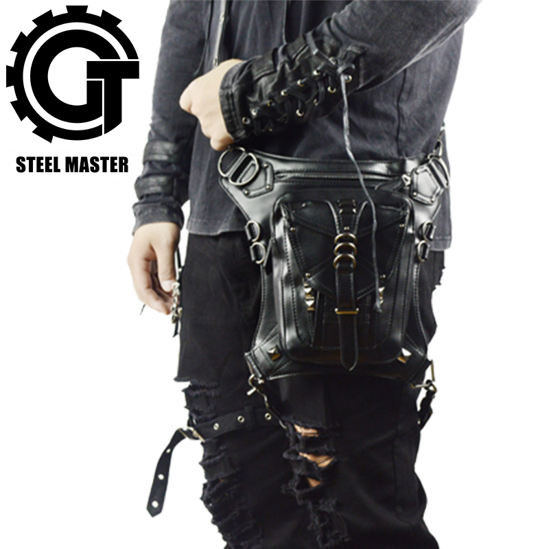 SteamPunk Motorcycle Leg Bag Gothic Waist Bag for Men Women Cross Body Messenger Bags Retro Rock Shoulder Bag 2017 Hot Sale