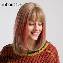 INHAIR CUBE 14 Women Ombre Pink long Straight Hair Synthetic Wigs With bangs Realistic Simulation Scalp Natural Headline