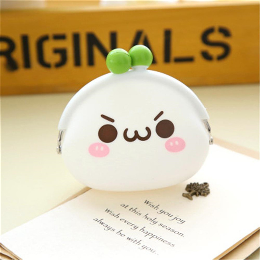 Cartoon Expression Coin Purse Wallet Soft Key Earphone Storage Bag Fashion Cute Round Mini Rubber Pouch for Lady Girl Gift
